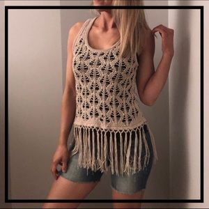Adorable Boho Cream Sweater Tank Top With Tassels